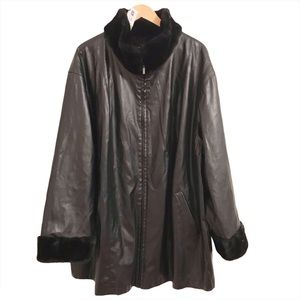 Reversible Faux Leather Coat w/faux fur trim